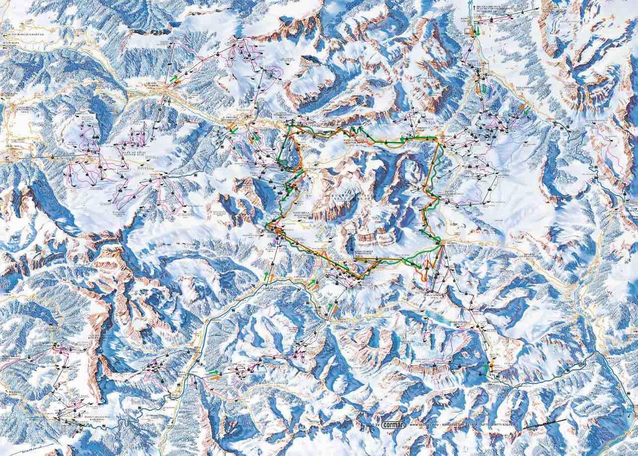 mapa esqui val gardena