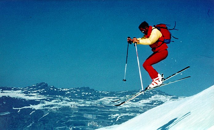 Photo: Eduardo Valenzuela doing a jump during his time as a ski instructor