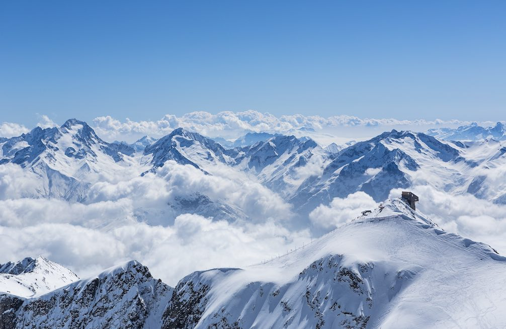 panoramic View of clouds over the mountains at Alpe d'Huez